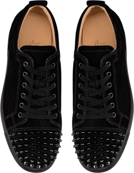 Christian Louboutin Black Velour Spike Low Top Sneakers
