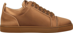 Christian Louboutin Light Brown Satin Sneakers