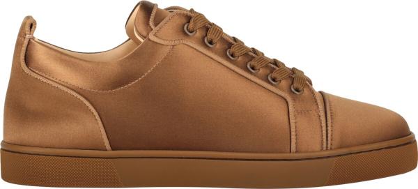 Christian Louboutin Light Brown Satin Sneakers