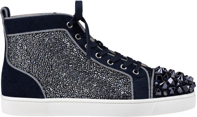 Christian Louboutin Navy Blue Embellished Lou Mix High Tops