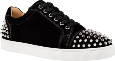 Christian Louboutin Studded Black Suede Low Top Sneakers
