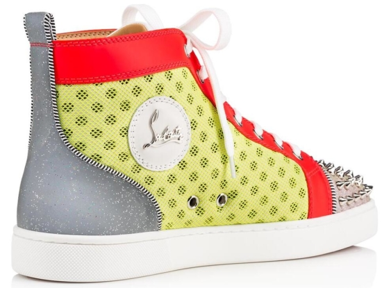 Christian Louboutin Studded Spike Toe With Yellow Red And Silver Mens Sneakers