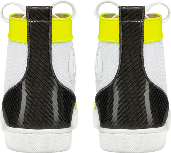 Christian Louboutin White And Neon Yellow High Top Sneakers