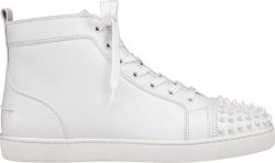 Christian Louboutin White Lou Spikes High Top Sneakers