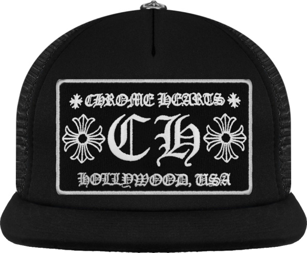 Chrome Hearts All Black Ch Logo Patch Trucker Hat