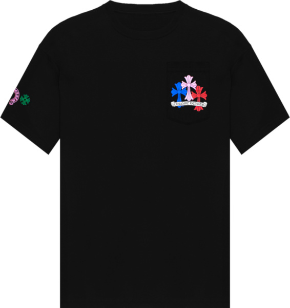 Chrome Hearts Black And Multicolor Cemetery Cross T Shirt