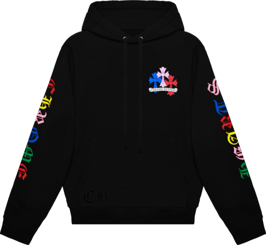 Chrome Hearts Black And Multicolor Cross Logo Hoodie