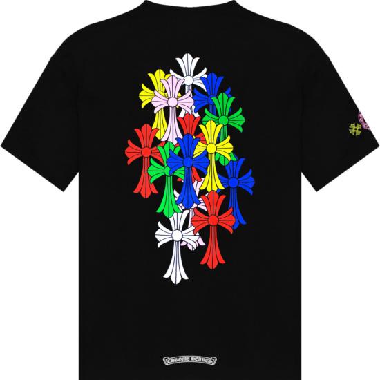 Chrome Hearts Black And Multicolor Cross Logo T Shirt