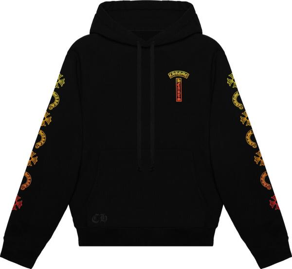 Chrome Hearts Black And Orange Gradient Logo Hoodie