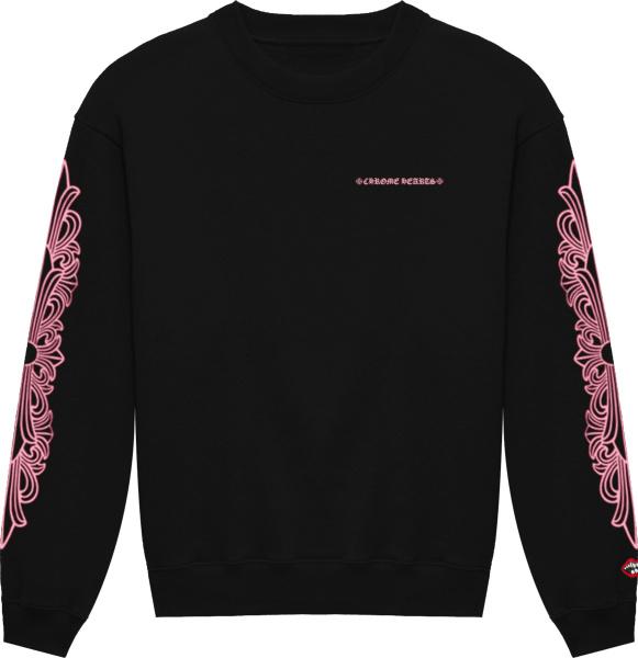 Chrome Hearts Black And Pink Floral Logo Sweatshirt
