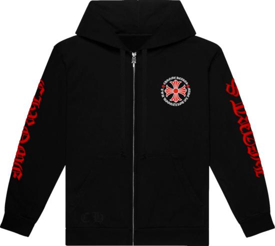 Chrome Hearts Black And Red Cross Logo Zip Hoodie