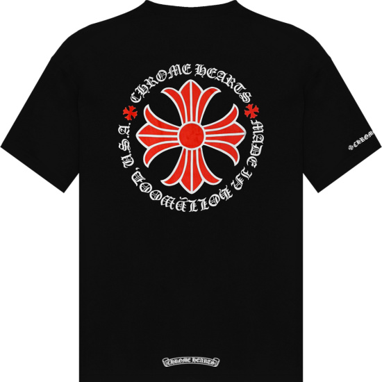 Chrome Hearts Black And Red Floral Cross Logo T Shirt