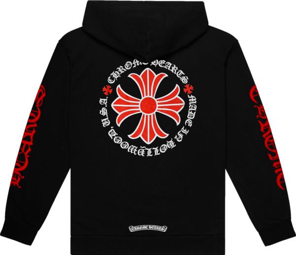 Chrome Hearts Black And Red Floral Cross Logo Zip Hoodie