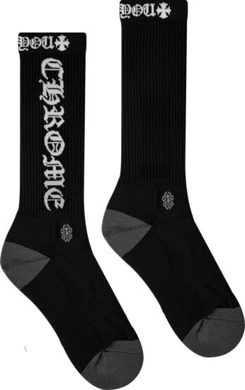Chrome Hearts Black And White Fuck You Logo Socks