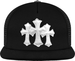Chrome Hearts Black And White Leather Cemetery Cross Trucker Hat