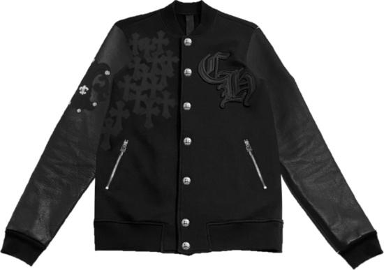 Chrome Hearts Black Ch And Cross Patch Varsity Jacket