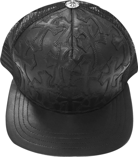 Chrome Hearts Black Leather Allover Cemetery Cross Trucker Hat