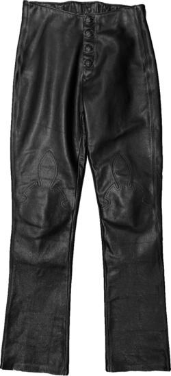 Chrome Hearts Black Leather Fleur De Lis Pants