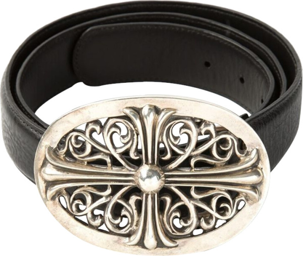 Chrome Hearts Black Leather Oval Cross Belt