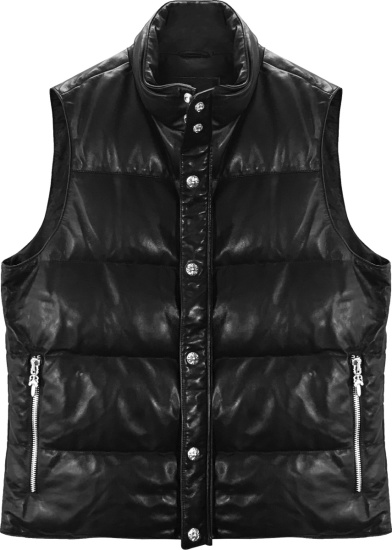 Chrome Hearts Black Leather Puffer Vest