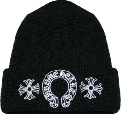 Horseshoe-Logo Embroidered Black Beanie