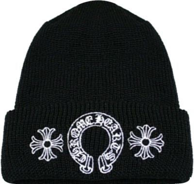 Chrome Hearts Black Logo Embroidered Beanie