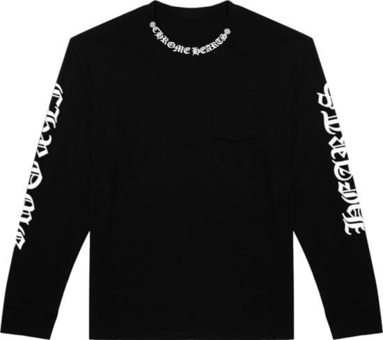 Chrome Hearts Black Long Sleeve Collar Logo T Shirt