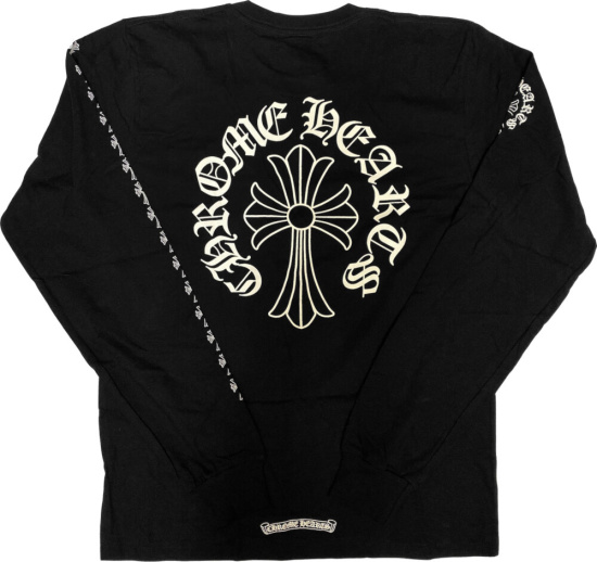 Chrome Hearts Black Long Sleeve Cross Print T Shirt