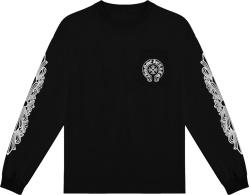 Chrome Hearts Black Long Sleeve Flower And Horseshoe Logo T Shirt