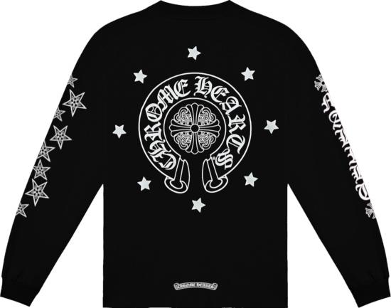 Chrome Hearts Black Long Sleeve Malibu Stars Print T Shirt