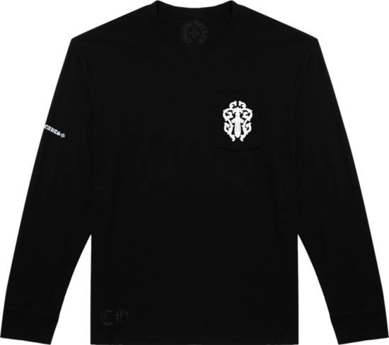 Chrome Hearts Black Long Sleeve Split Logo Cross T Shirt