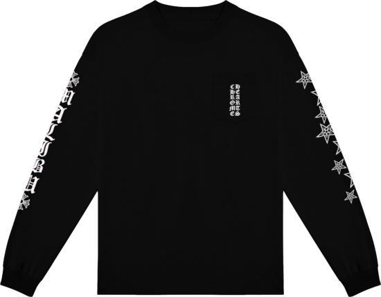 Chrome Hearts Black Long Sleeve Star Print T Shirt