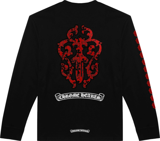 Chrome Hearts Black Red Long Sleeve Logo Print T Shirt