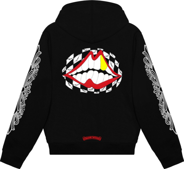 Chrome Hearts Black Red Sleeve Logo Print Hoodie