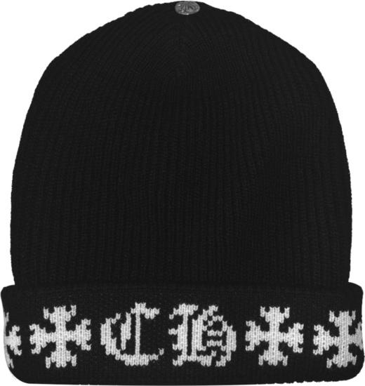 Chrome Hearts Black Ribbed Knit Cross Ch Beanie