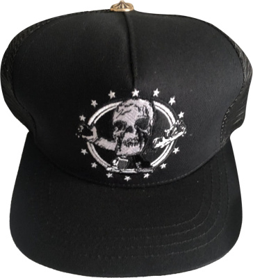 Chrome Hearts Black Skull Trucker Hat