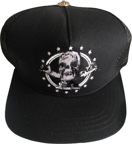 Chrome Hearts Black Skull Trucker Hat