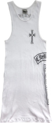 White Crystal Embellished 'Fuck You' Tank Top