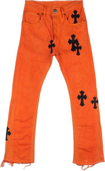 Chrome Hearts Cross Patch Orange Jeans