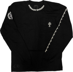 Chrome Hearts Cross Sleeve Print Long Sleeve Black T Shirt