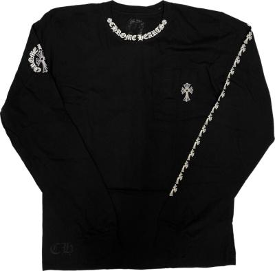Chrome Hearts Cross Sleeve Print Long Sleeve Black T Shirt