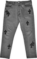 Chrome Hearts Faded Black Cross Patch Jeans