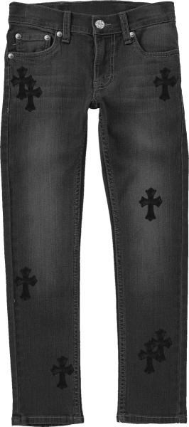Chrome Hearts Grey Black Leather Cemetery Patch Jeans