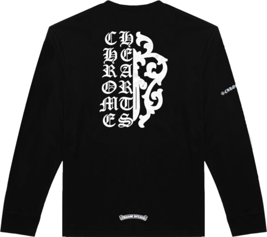 Chrome Hearts Half Cross Half Shield Print Black Long Sleeve T Shirt