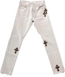 Chrome Hearts Leopard Cross Patch Whtie Jeans