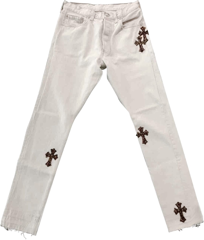 Leopard Cross-Patch White Jeans