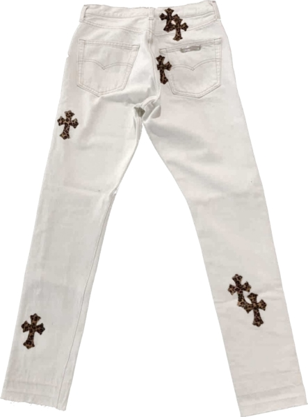 Chrome Hearts Leopard Patch Whtie Jeans