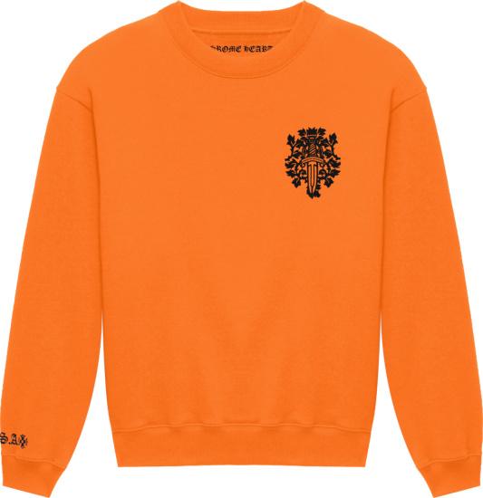 Chrome Hearts Orange And Black Dagger Logo Sweatshirt