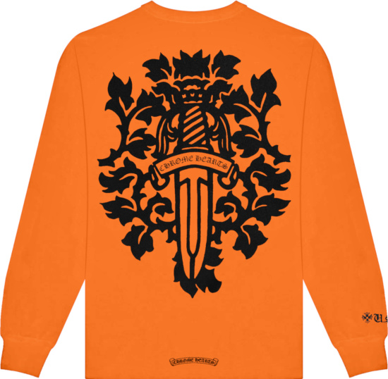 Chrome Hearts Orange Vine Dagger Logo Long Sleeve Tee