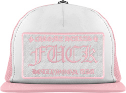 Chrome Hearts Pink And White Fuck Trucker Hat